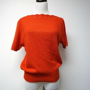 red boat neckline knitted blouse